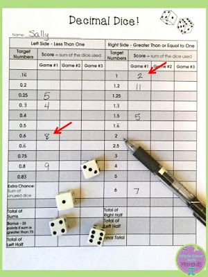 "Playing ""decimal dice"" to practice converting fractions to decimals~Middle School Math Moments"