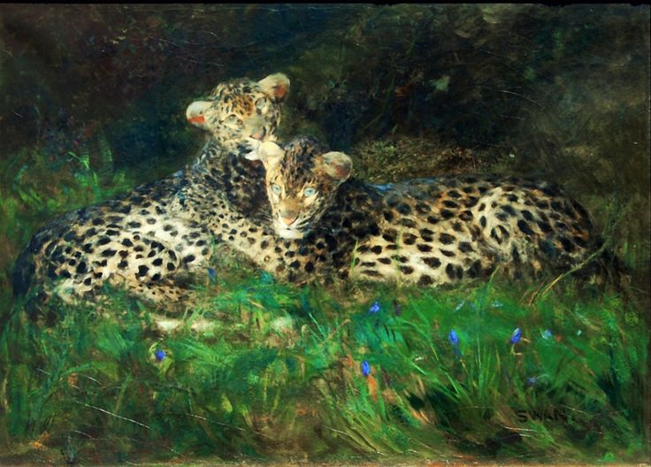 """Leopard Cubs,"" Cuthbert Edmund Swan, 1870-1931. Oil on canvas. Courtesy of Los Angeles Fine Art Gallery 