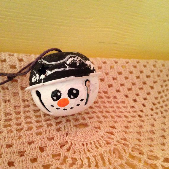 Handpainted Snowman Ornament; Jingle Bell Ornament; Black Hat Snowman Ornament…