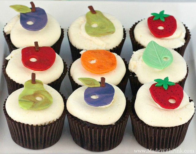 A Very Hungry Caterpillar Birthday Party - Fruit Cupcakes by Made With Pink, via Flickr