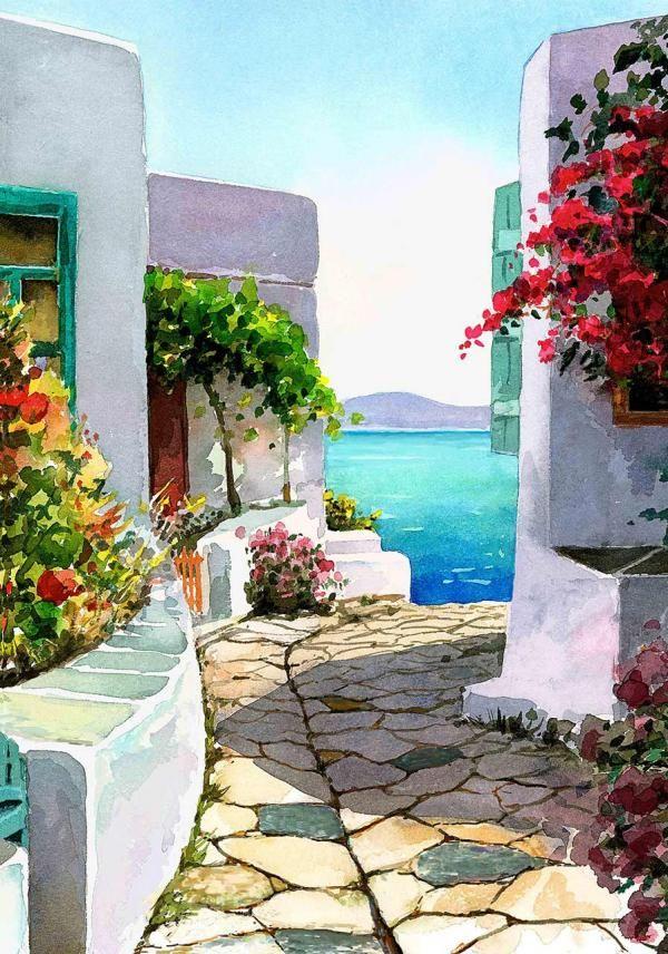 Watercolor Landscapes by Pantelis D. Zografos Greece