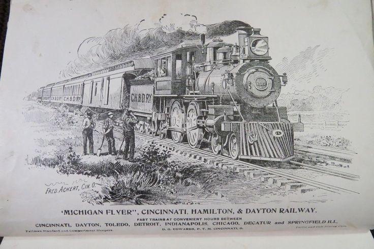Antique 1892 Michigan Flyer CHR Railway RR Train Original Ad
