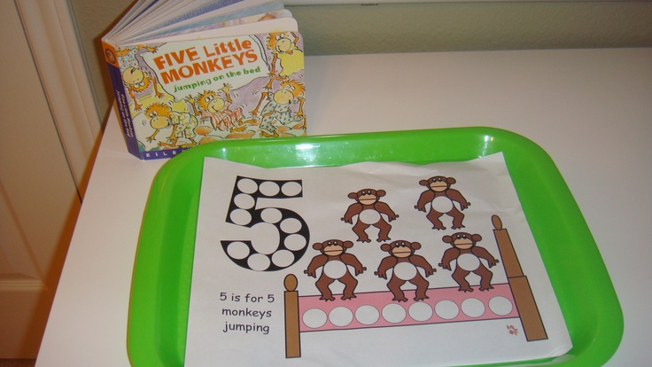"""Toddler School Tray """"Five Little Monkeys Jumping on the"""
