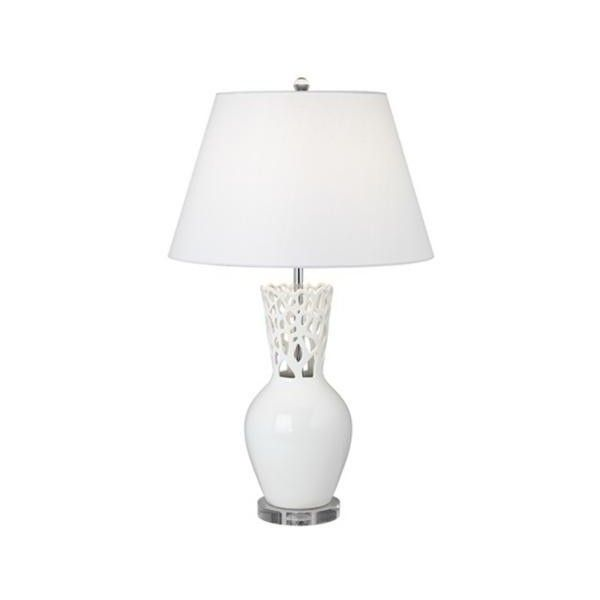 Possini Euro Design White Coral Vase Table Lamp (230 BRL) ❤ liked on Polyvore featuring home, lighting, table lamps, white lamp, white color shades, white table lamp, coral shades and white shades