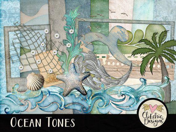 Beach Digital Scrapbooking Kit - Ocean Tones clipart - Swimming Beach Sand & Summer Digital Scrapbook Aqua Teal Blue Green Beige by ClikchicDesign #photoshop #graphic #design by Clikchic Designs