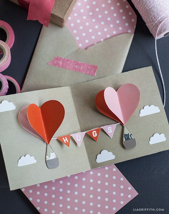 A Valentine's Day card filled with 3D hot air balloons is just the kind of t…