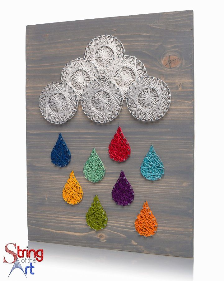 String Art DIY Kit - Raindrops, Rainnclouds, Colorful Raindrops String Art, Colorful String Art. Visit www.StringoftheArt.com to learn how you can string together this beautiful string art raindrops kit yourself!