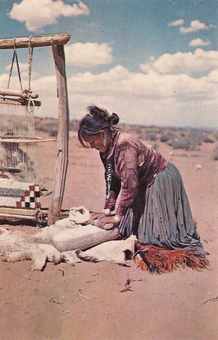 Grinding corn on stone netate (Navajo Reservation) | Antique Postcard from Margie Beard —