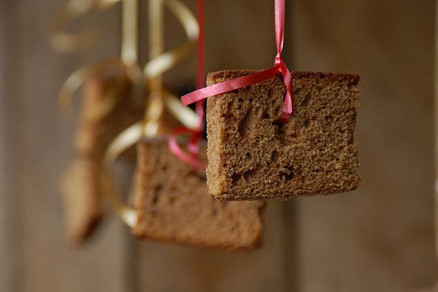 'Koekhappen (cookie biting)' is a Dutch tradition, often played on kids birthday parties. Tutorial: hang a few 'ontbijtkoeken' or cake slices on a rope on eye level, position yourself and a few friends in a row (one ontbijtkoek per person), hold your hands on the back, and GO! The one who has eaten the entire cookie first has won. The games we play in Holland....