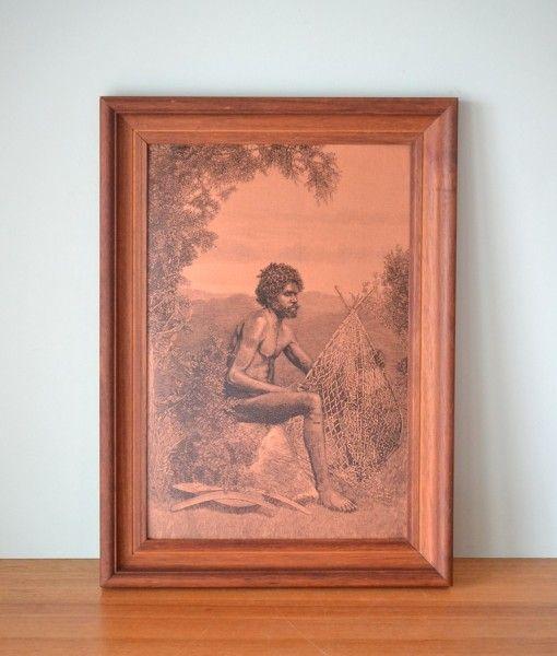 Vintage print Aboriginal print copper litho print style