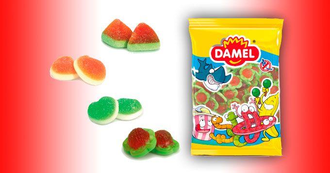 Gama Rellena, de Productos Damel: Diferentes caramelos de goma o azúcar con forma de fresones, manzana, tajos de sandía y melocotón rellenos de gelatina de varios sabores. Los productos son sin gluten.