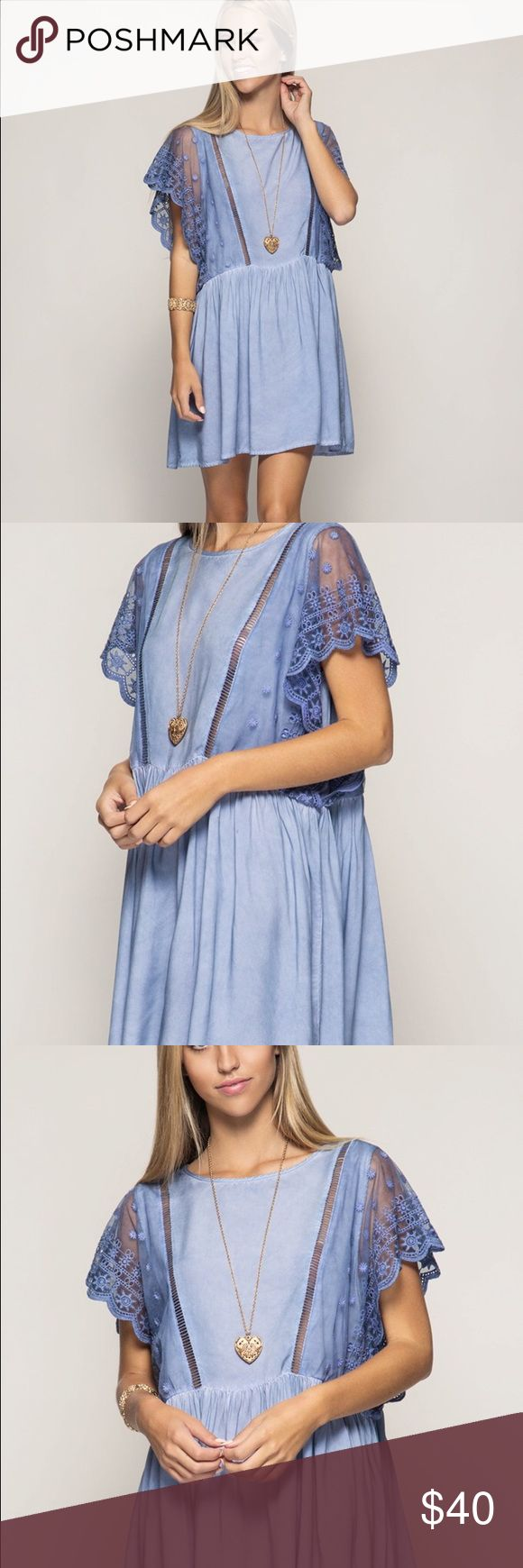 Flirty short sleeve dress Super flirty short sleeve mineral wash swing dress with lace sleeves. Dresses Mini