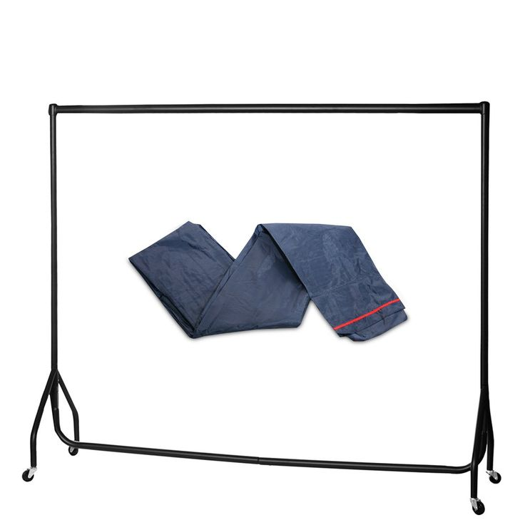 Heavy Duty Clothes Rail - 6ft Wide, Black with Rail Cover