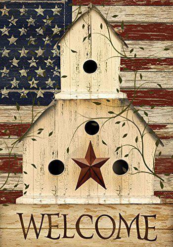 "Americana Welcome Garden Flag Primitive Patriotic 12.5"" x"