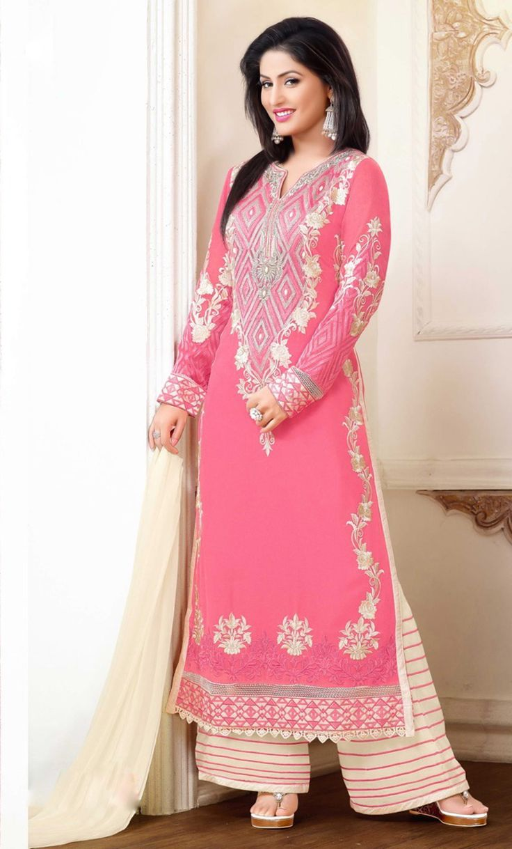 Hina Khan Pink Georgette Palazzo Suit 61269