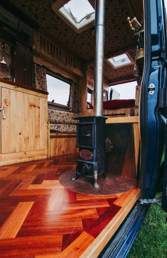 Quirky Camper Asha's parquet flooring was second hand flooring of an old Sunday school!