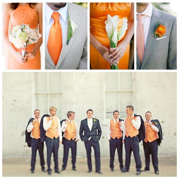 Orange and Grey Dress for Weddings