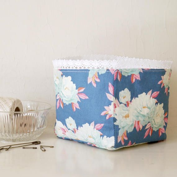 Fl Fabric Storage Box Shabby Chic Bin Blue And White Container