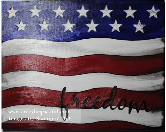 My flag class, mixed media American flag, modeling paste for the stars (stencil created on my e-cutter) and freedom cut with e-cutter