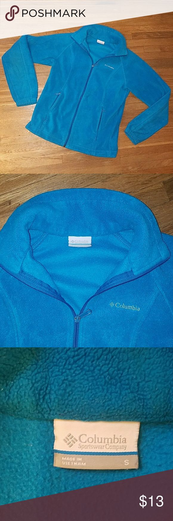 Small blue columbia zip up Women's size small blue columbia fleece zip up jacket. No stains or holes. Columbia Jackets & Coats