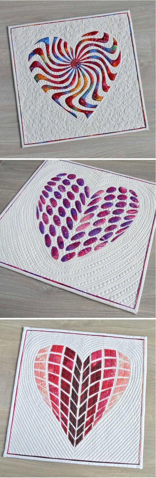 Applique heart quilt patterns- multiple designs available. via @getagrama