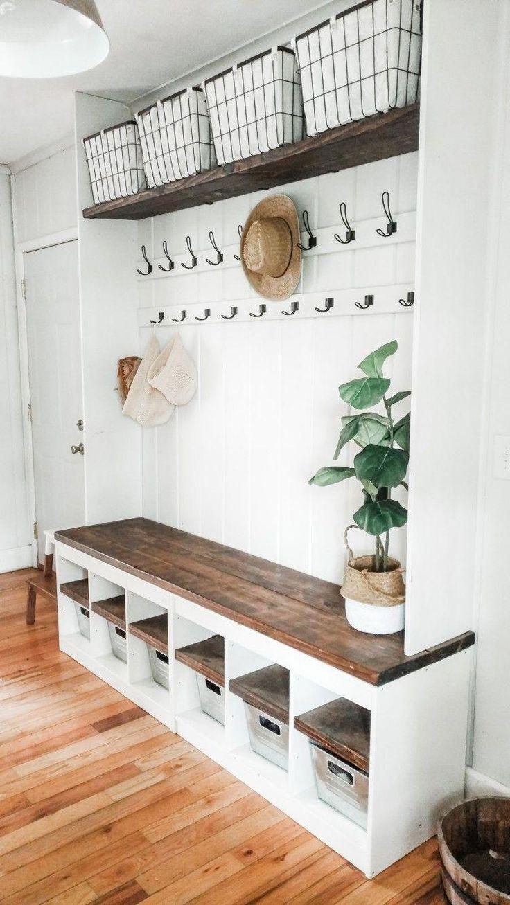 Simple Entryway Design Built In Bench With Cubbies Coat Hooks Mudroom Design In 2020 Diy Mudroom Bench Mudroom Decor Mud Room Storage