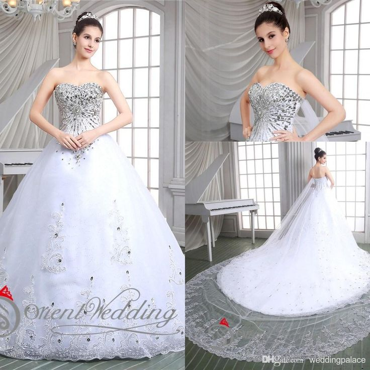 Cute Real Pictures Free Shipping In Stock White Ivory US USW Dazzling A line Crystal Beaded WatteauStrapless Bridal Gown Wedding Dresses