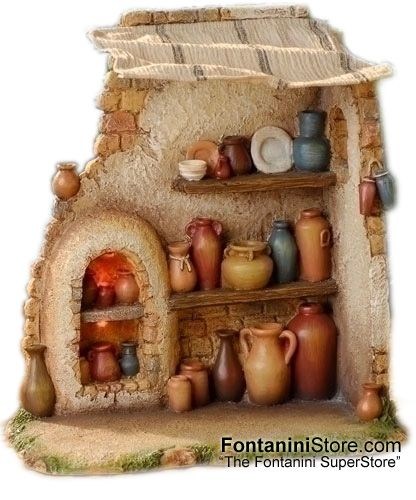 7.5 Inch Scale Lighted Pottery Shop by Fontanini