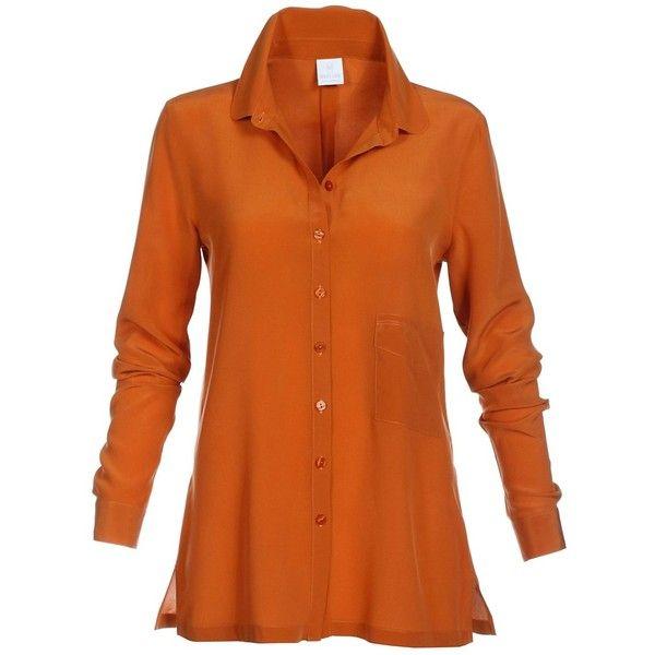 Smart Casual Silk Shirt (10.785 RUB) ❤ liked on Polyvore featuring tops, orange shirt, long silk shirt, orange silk shirt, orange top and long length shirts