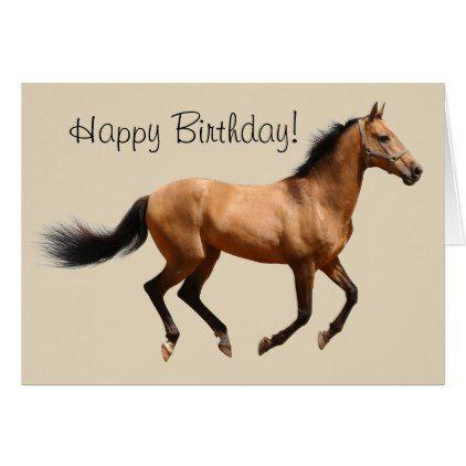 Happy Birthday Card Running Horse - horse animal horses riding freedom