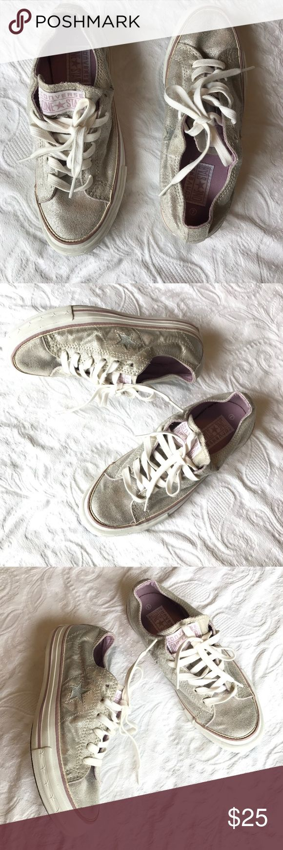 Converse one star shoes Silver and lavender Converse shoes. Good condition. Converse Shoes