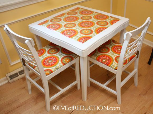Before & After: Retro Card Table Redo with funky laminated fabric- Eve of Reduction