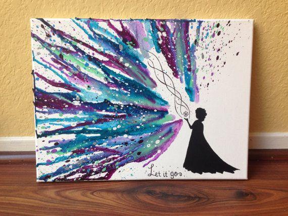 Mon ORIGINAL! À la main peint Elsa Silhouette avec «Let it go» imprimé à la main sur toile.   Fondu de crayon et peinture acrylique pièce  ❥If vous avez des demandes de couleurs personnalisées pour cette pièce, sil vous plaît menvoyer un message directement à votre demande pour confirmer avec moi avant de lacheter !  ❥Please a noter que limage est une représentation de la pièce que vous recevrez. Chaque pièce est fait à la main, fondu un crayon à la fois et est fait pour vous au moment de…