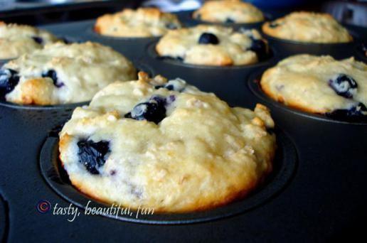 Blueberry, Greek yogurt, and rolled oats breakfast muffins.