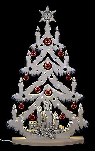 Lichterspitze Tanne grau mit Raureif und roten Baumkugeln (72×38 cm) von RATAGS Holzdesign