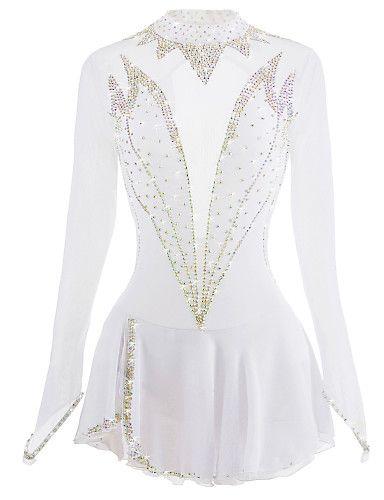 9d491f271e06 Figure Skating Dress Women's / Girls' Ice Skating Dress White Open Back  Spandex High Elasticity Competition Skating Wear Handmade Ice Skating /  Figure ...
