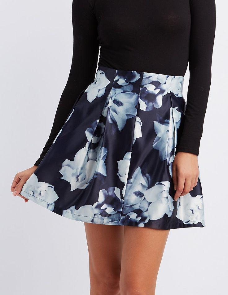 Floral Pleated Skater Skirt | Charlotte Russe #charlottelook