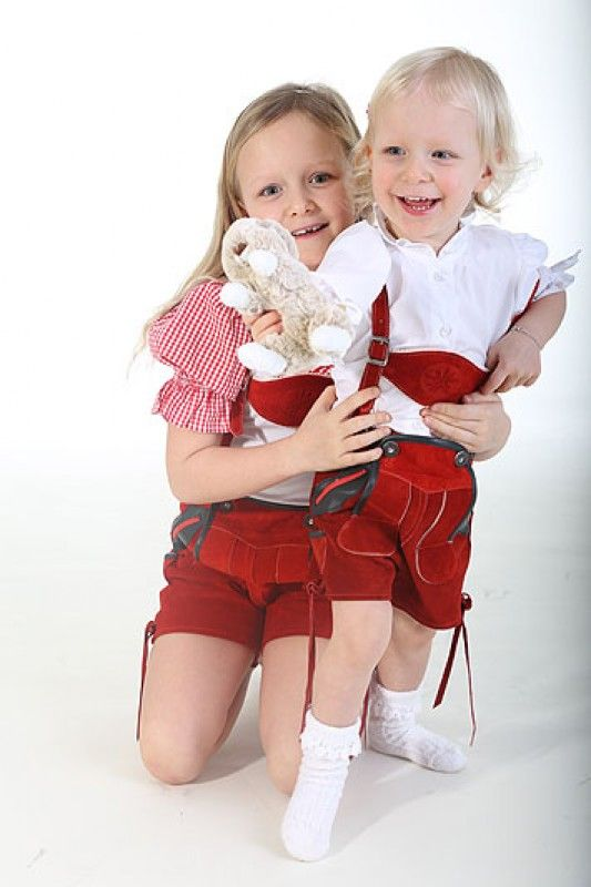 kurze lederhose f r m dchen in rot red lederhosen for. Black Bedroom Furniture Sets. Home Design Ideas