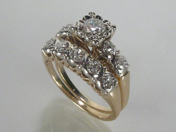 Vintage Wedding Rings Set  054 Carats by lonestarestates on Etsy, $825.00