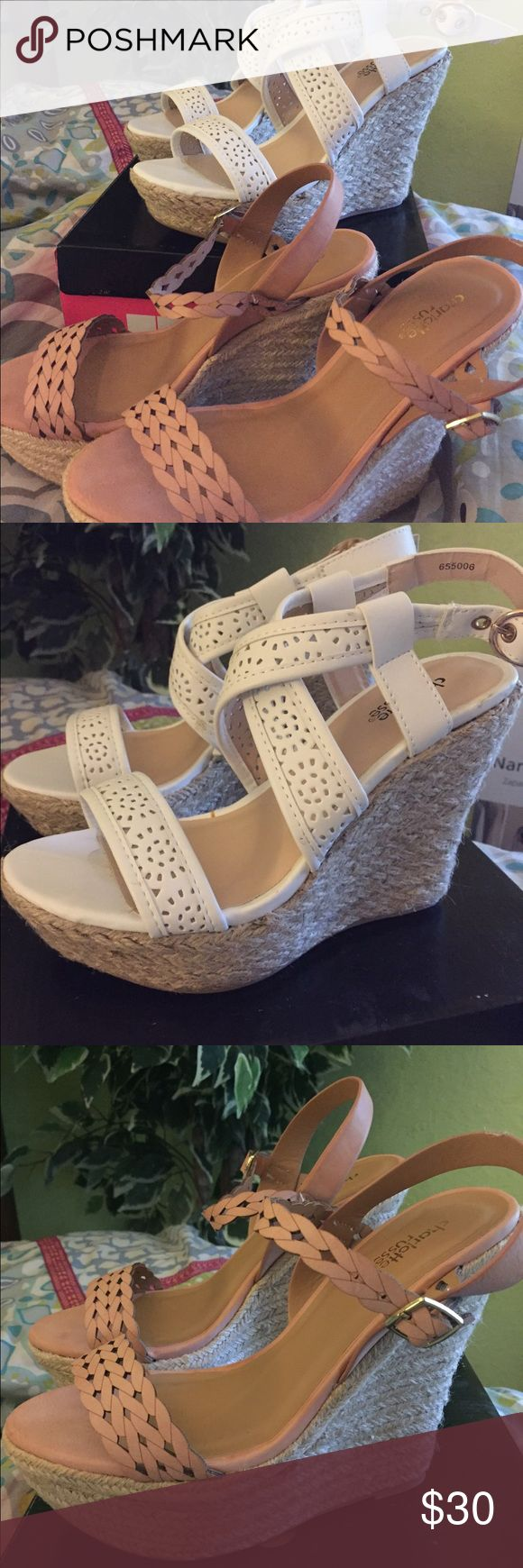 2 pairs Charlotte Russe wedge sandals size 7 Really cute wedge sandals !! 2 pairs . Both New never worn . Size 7. No boxes . Charlotte Russe Shoes Wedges