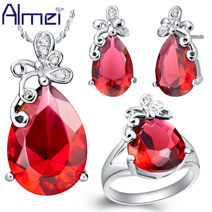 Find More Jewelry Sets Information about Almei Silver Butterfly Red/Purple Crystal Jewelry Set Wedding Woman Accessories conjuntos de colar anel anel de casamento T074,High Quality jewelry amethyst,China jewelry yiwu Suppliers, Cheap jewelry magic from ULove Fashion Jewelry Store on Aliexpress.com
