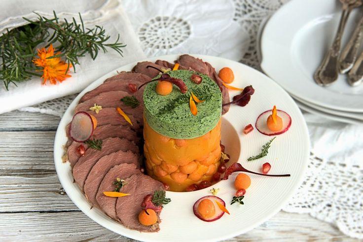 szczypta smaQ: Krem batataowy ze szpinakiem, dzikim krwawnikiem i...