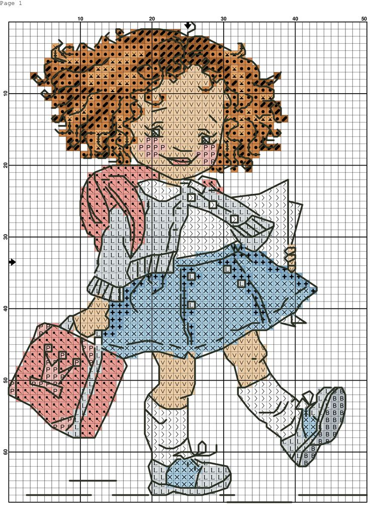 cross stitch - school girl