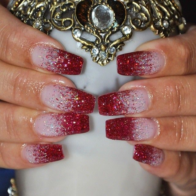 red white glitter ombre nails … | Pinteres…