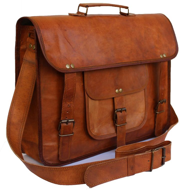 Original handmade unisex leather bag with dark brown color and metal fittings. Three internal compartments. Two zipper pockets. One zipper pocket for mobile etc.  Dimensions: (WxHxD) 15 x 11 x 4 in (38 x 28 x 10 cms). Can easily accommodate 14 inch mac air and other laptops.