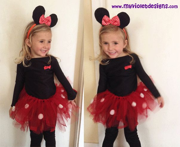 Disfraz de minnie 3 años, completo, pollera de tul, vincha, remera y calza. myvioletdesigns.com