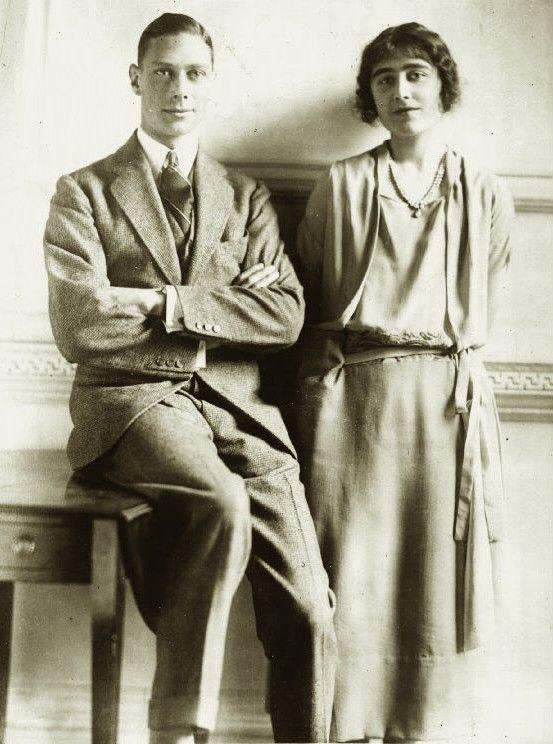 Prince Albert of Great Britain (future King George VI) with fianceé, Elizabeth Bowes-Lyon