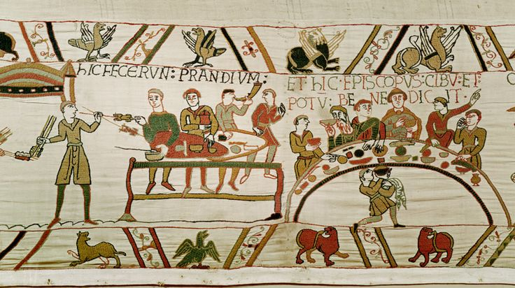 This picture, from the Bayeux Tapestry, shows William the Conqueror feasting with his Normans. The Norman Conquest ended both Anglo-Saxon and Viking rule in England.