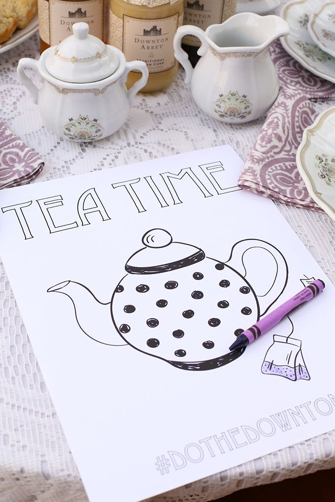 """Kid Friendly Tea Party Coloring Sheet Printable 