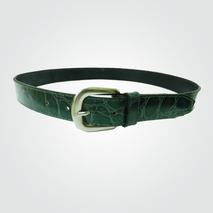 Cinturón 3 cm verde-níquel